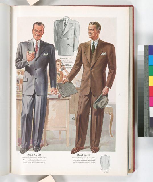 Model No. 130. Medium fitting three-button style; Model No. 131. Medium fitting two-button style; Model No. 132. Medium fitting double-breasted style; Models for business men.