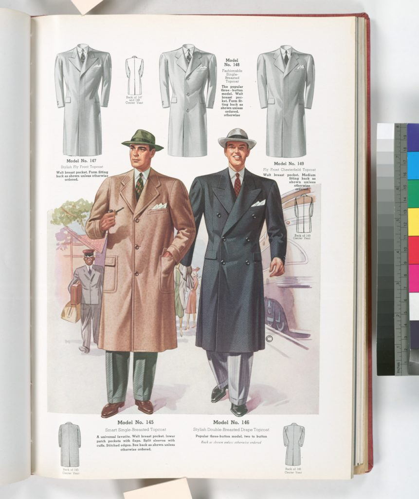 Model No. 145. Smart single-breasted topcoat with welt breast pocket, lower patch pockets with flaps, split sleeves with cuffs, stitched edges, box back; Model No. 146. Stylish double-breasted drape topcoat, three-button model, two to button.