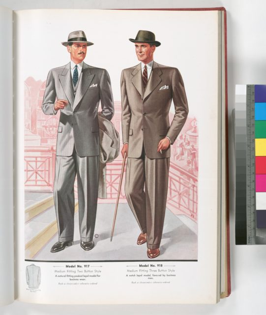 Model No. 917. Medium fitting two button style: a natural fitting peaked lapel model for business wear; Model No. 918. Medium fitting three button style: a notch lapel model.