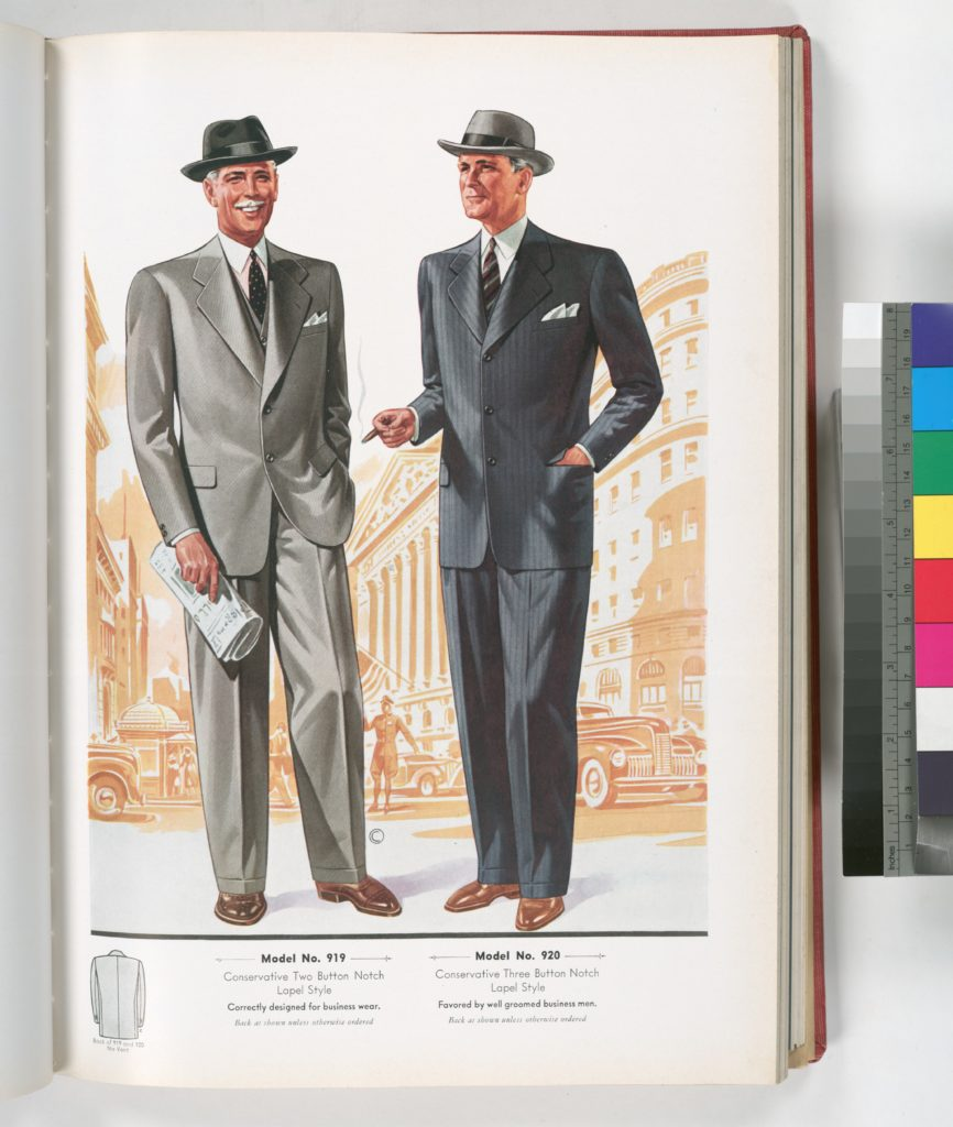 Model No. 919. Conservative two button notch lapel style;  Model No. 920. Conservative three button notch lapel style; Designed for business wear.