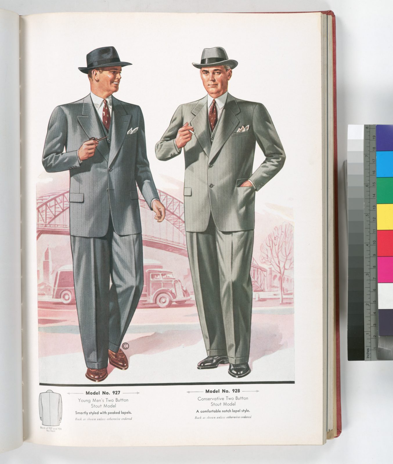 Model No. 927. Young men's two button stout model; Model No. 928. Conservative two button stout model.