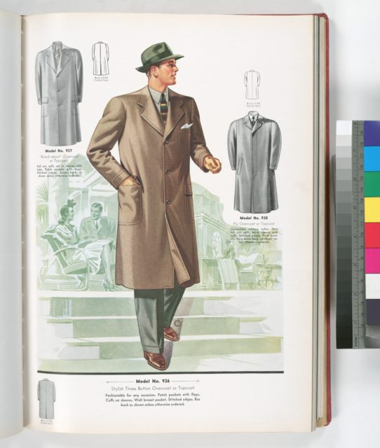 "Model No. 936. Stylish three button overcoat or topcoat; Model No. 937. ""Knock about"" overcoat or topcoat, full cut, split, set in sleeves with tabs, patch pockets with flaps, stitched edges, loose back; Model No. 938. Fly overcoat or topcoat."