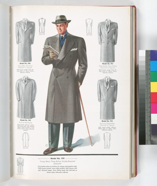 Model No. 939. Young men's three button double-breasted ulsterette; Model No. 940. Young men's fly front overcoat or topcoat; Model No. 941. Three button form fitting overcoat or topcoat; Model No. 942. Fly front bal-raglan; Model No. 943. Fly front Chesterfield overcoat or topcoat.