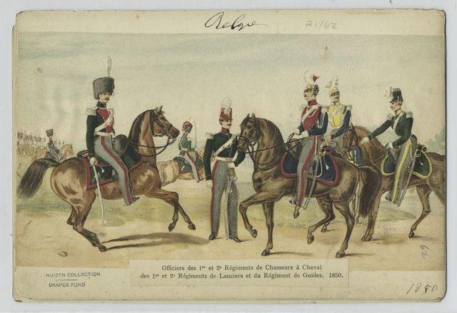 Officiers des 1er et 2e régiments de chasseurs à cheval, des 1er et 2e régiments de lancers er du régiment de guides.