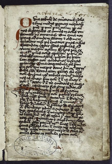 Opening of text. 3-line initial extending into border.  Red daubs as place-markers.  Note of ownership by Carthusians at Erfurt. Hand one.