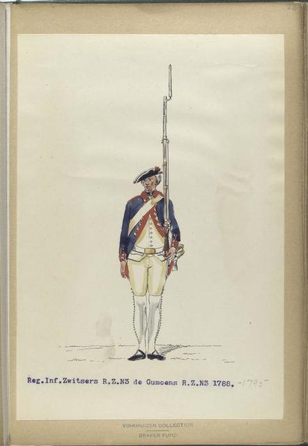 Reg. Inf. Zwitsers R. Z. N3 de Gumoens  R. Z. N3. 1788-1795