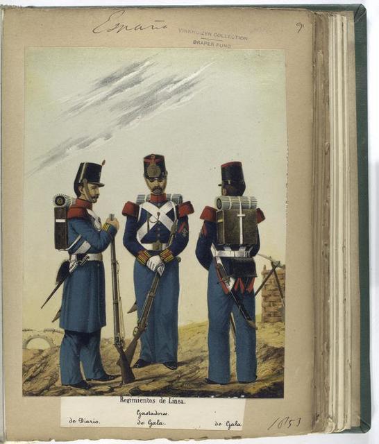 Regimentos de Linea : Gastadores (de Diario; de Gala; de Gala). 1853