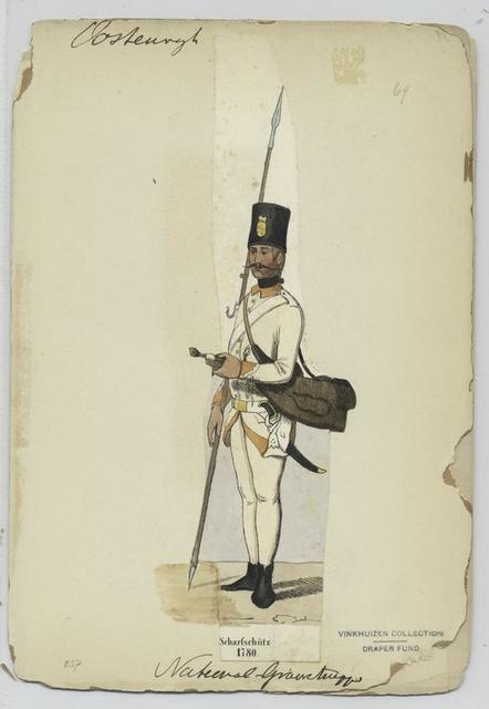 Scharfschütz. 1780, National -Grenztruppen.
