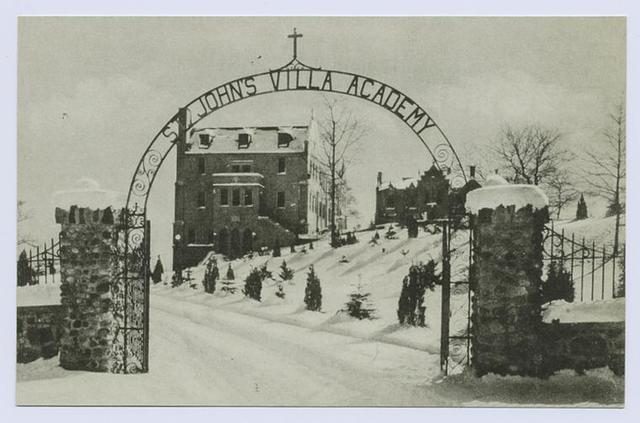 St. John's Villa Academy, Arrochar, S.I., N.Y.  [iron entrance gate, snow-covered landscape and buildings]