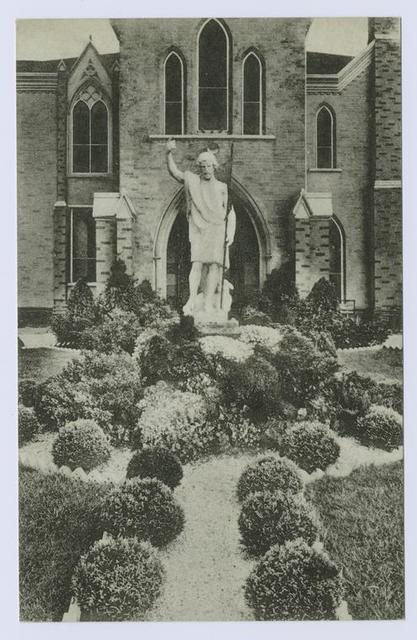 St. John's Villa Academy [view of statue in entrance court and garden]