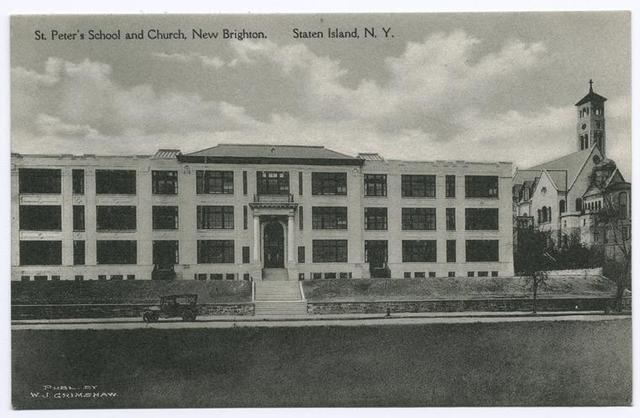 St. Peter's School and Church, New Brighton, Staten Island, N.Y.  [main entrance and church]