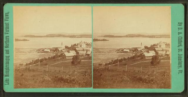Steam mill and Indian Point, from Prospect Hill, Newport, Vt.