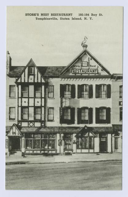 Stork's Nest Restaurant, 192-194 Bay St. Tompkinsville, Staten Island, N.Y. [ext. with stork perched on chimney.]