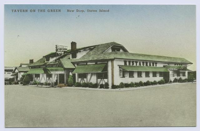 Tavern on the Green, New Dorp, Staten Island  [ext. same building as #506, but different awnings and no cars, etc. in front of building.  Map of Staten Island showing location in message area on back]