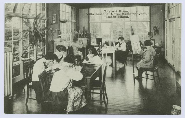 The Art Room, Villa Josepha, Notre Dame Convent, Staten Island [uniformed girls at tables and easels in solarium]