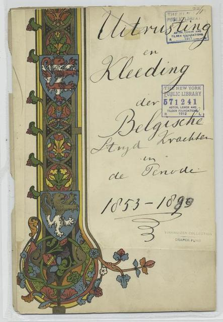 Title page Uitrusting en Kleeding der Belgische Strijd Krachten in de Periode 1853-1889