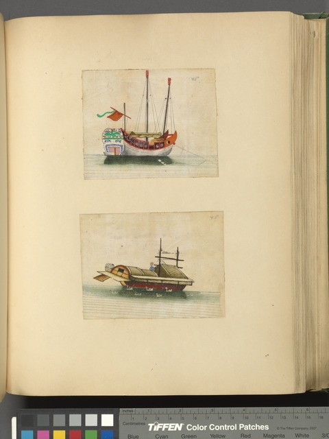 Two drawings of boats.