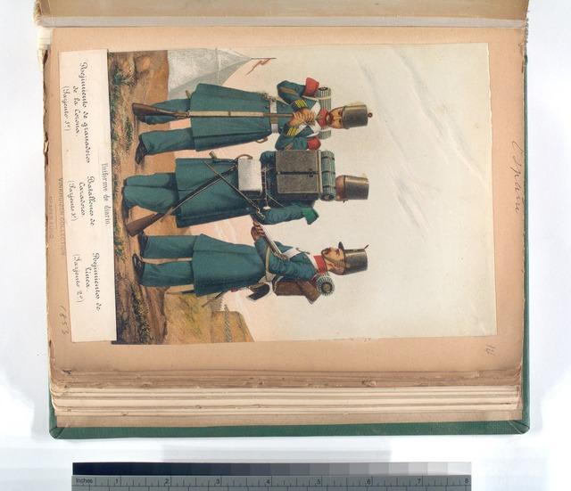 Uniforme de diario: Regimiento de granaderos de la Corona (Sargiento 1-o), Batallones de Cazadores (Sargiento 1-o), Regimientos de Linea (Sargiento 2-o). 1853