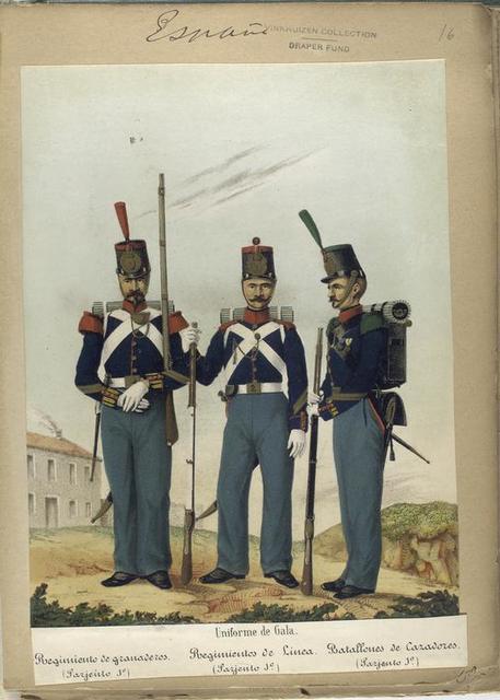 Uniforme de Gala: Regimiento de granaderos (Sargiento 1-o), Regimientos de Linea (Sargiento 1-o),  Batallones de Cazadores (Sargiento 1-o). 1853