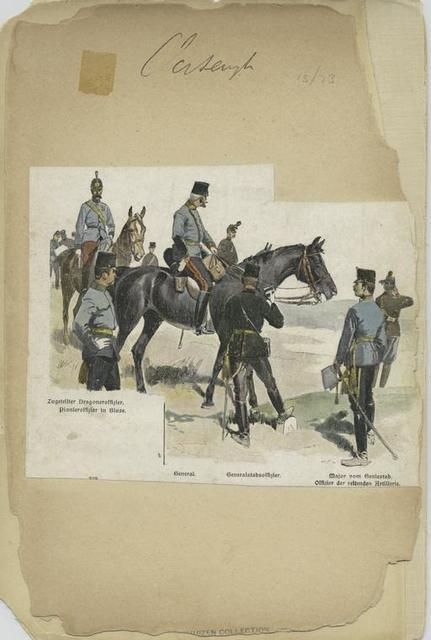 Zugeteilter Dragoneroffizier; Pionieroffizier in Bluse; General; Generalstabsoffizier; Major vom Geniestab; Offizier der reitenden Artillerie