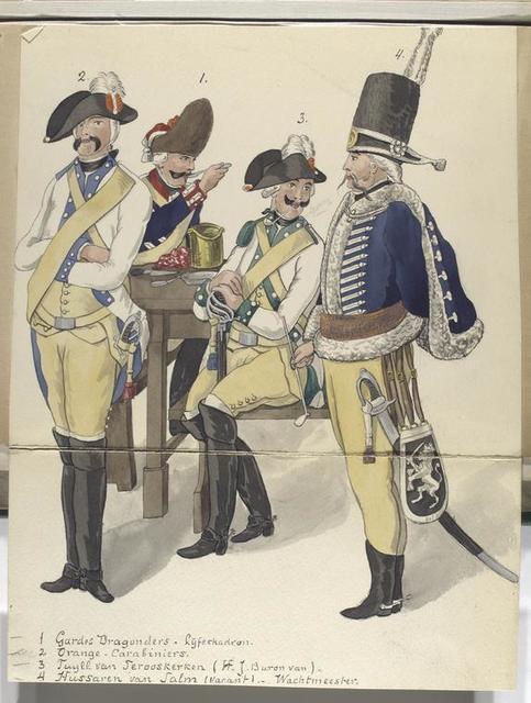 1. Gardes Dragonders  - Lijfeskadron; 2. Oranje - Carabiniers ; 3. Tuyll van Serooskerken (H.J. Baron van); 4. Hussaren van Salm (vacant) -  Wachtmeester.