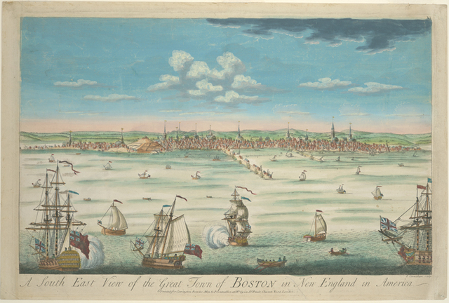 A south east view of the great town of Boston in New England in America.