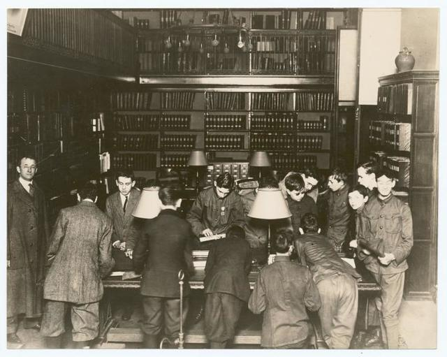 A troop of blind Boy Scouts visiting the Library for the Blind, 42nd Street