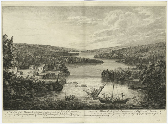 A view of Miramichi, a French settlement in the Gulf of St. Laurence, destroyed by Brigadier Murray detached by General Wolfe for that purpose, from the Bay of Gaspe.