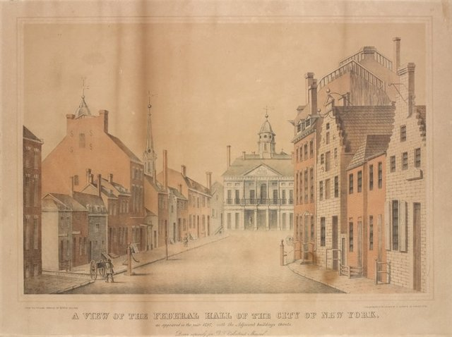 A view of the Federal Hall of the City of New York, as appeared [sic] in the year 1797, with the adjacent buildings thereto