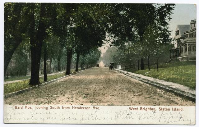 Bard Ave., looking South from Henderson Ave.  West Brighton, Staten Island  [tree-lined street with large houses on right and horse and carriage in nearly empty street]