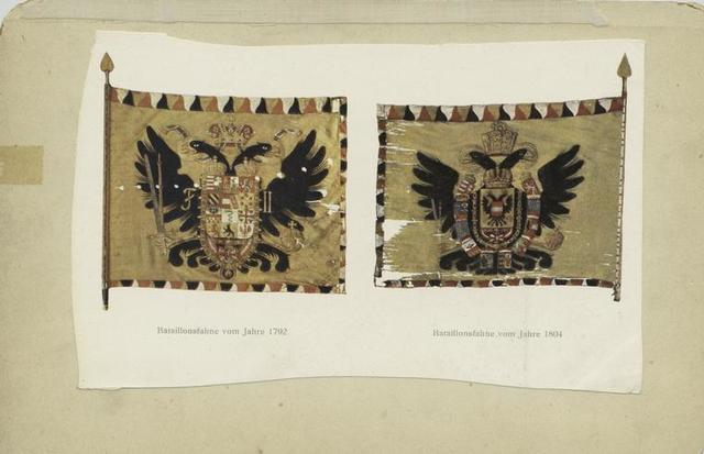 Bataillonsfahne vom Jahre 1792;  Bataillonsfahne vom Jahre 1804