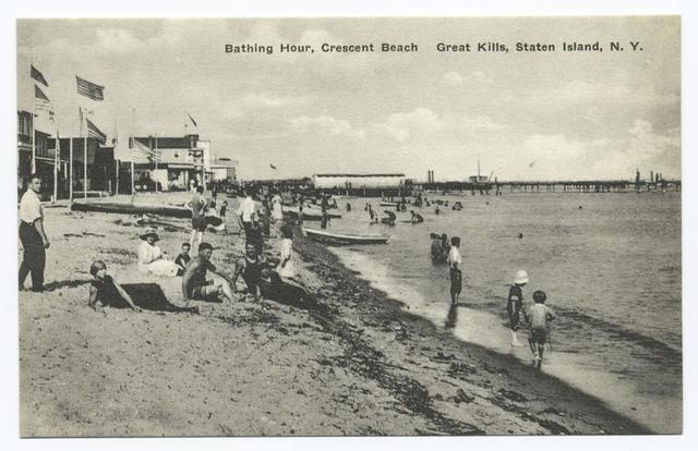 Bathing Hour, Crescent Beach  Great Kills, Staten Island, N.Y. [people and  buildings.]