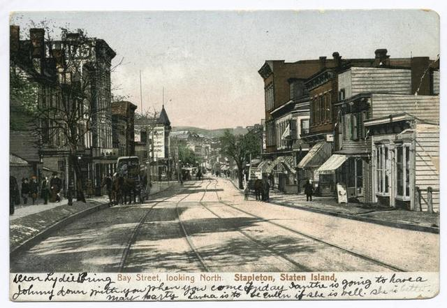 Bay Street, looking North, Stapleton, Staten Island  [trolley tracks, lots of people on street, horses with carriages, shops]