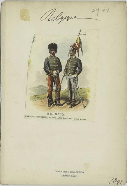 Belgium, cavalry troopers, guide and lancer, full dress