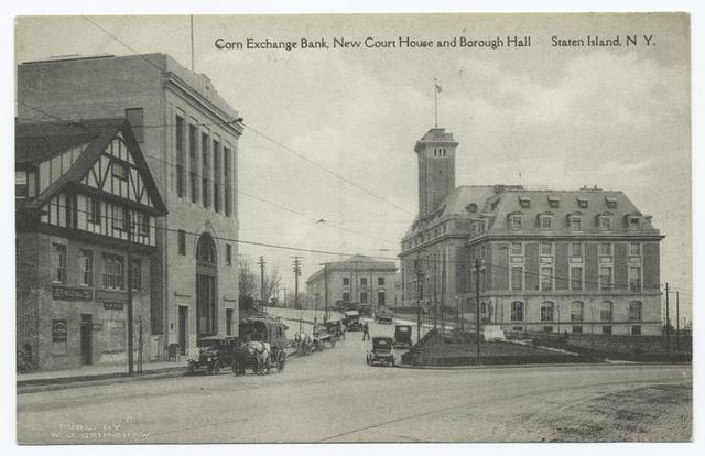 Corn Exchange Bank, New Court House and Borough Hall   Staten Island, N.Y. [old cars, horse and wagon.]