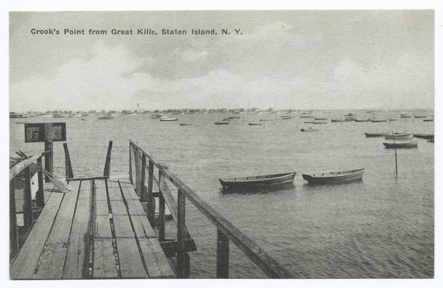 Crook's Point from Great Kills, Staten Island, N.Y. [wooden pier and rowboats.]