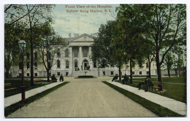 Front View of the Hospital, Sailors' Snug Harbor, Staten Island [drive leading up to entrance]
