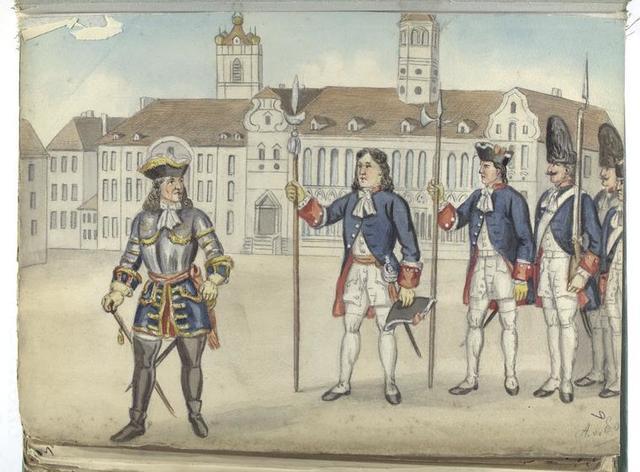 General, Hauptman, Sergent, Grenadier, Füseliere.  1718-1740.