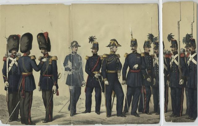 Grenadiers (nouvel uniforme), Intendant, Général-Major, Aide-de-camp du Roi, Génie (état major et troupes).