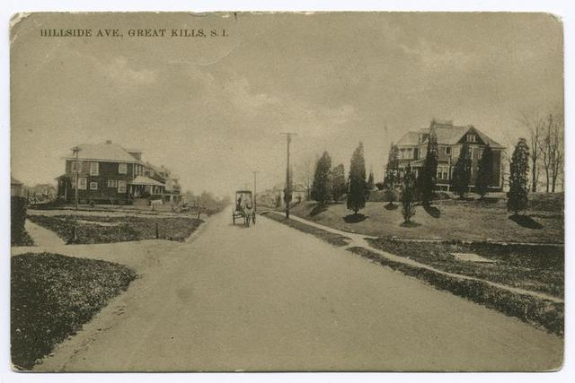 Hillside Ave., Great Kills, Staten Island [large houses, horse and carriage on street]