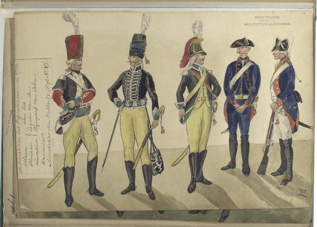 In dienst van het Defensienwezen in 1786: Ulaan, Huzaar, Kurassier van het Legioen van den Rijngraaf van Salm; Kanonier; Musketier van Pallardy (Reg. No. 5).