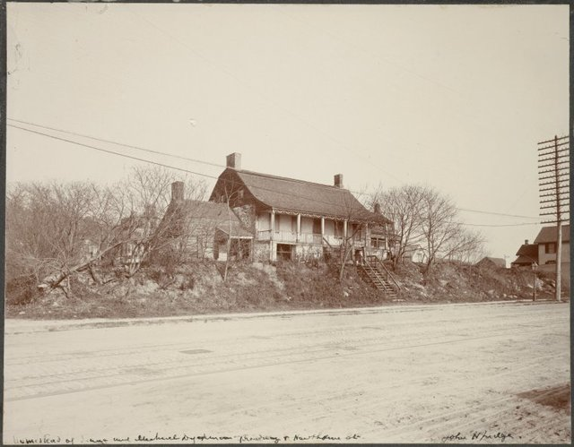 """In ink: """"Homestead of Isaac and Michael Dyckman Broadway and Hawthorne St. John H. Judge."""""""