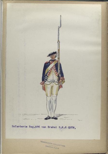 Infanterie Reg. No. 6  van Brakel  R.N.6 QUTM.  1752-1795