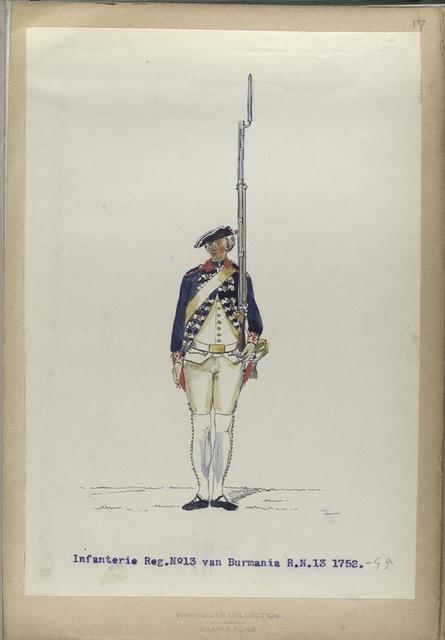Infanterie Reg. No.13 van Burmania  R. N. 13.   1752-1795