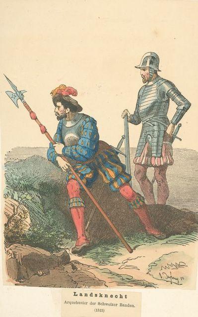 Landsknecht, arquebusier der schweizer banden.