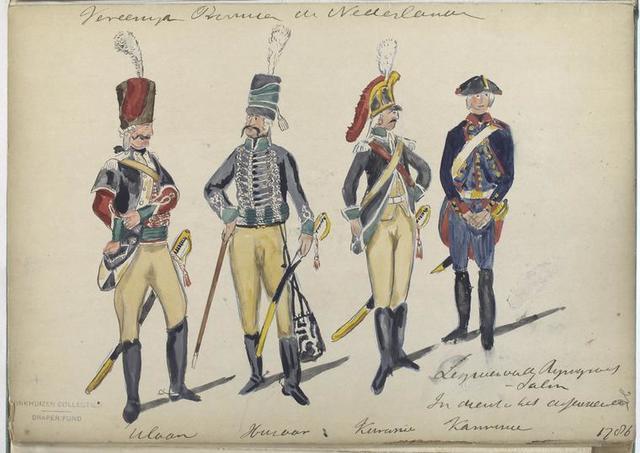 Legioen van den Rijngraaf van Salm. In dienst van het: Ulaan, Huzaar, Kurasier, Kanonier. 1786
