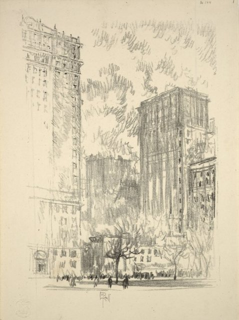 Lithographs of New York in 1904. Battery Park