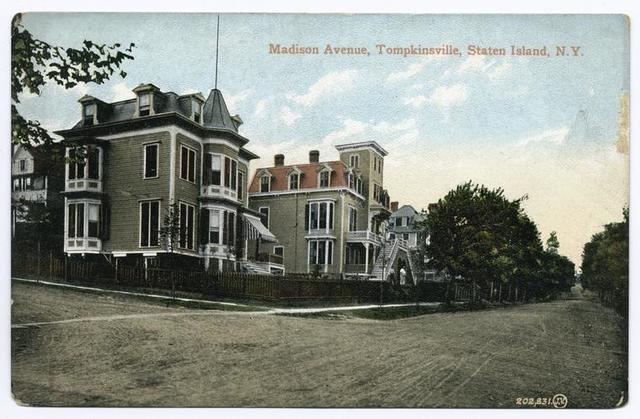 Madison Avenue, Tompkinsville, Staten Island, N.Y.  [view of corner with two large mansions]