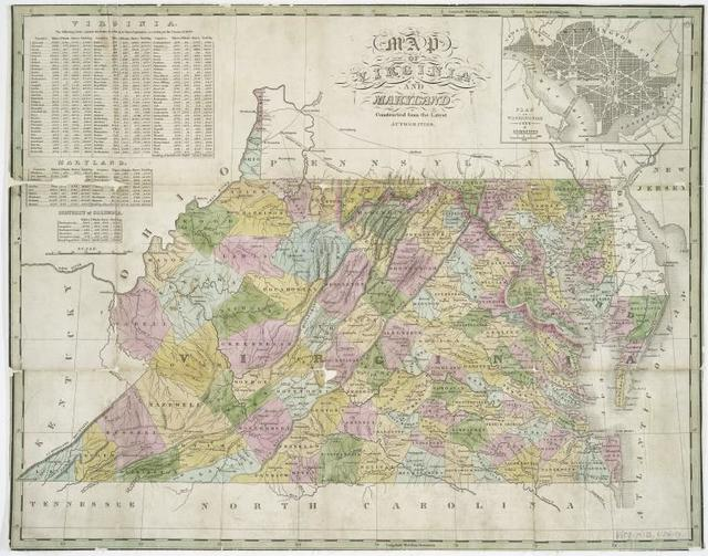 Map of Virginia and Maryland, constructed from the latest authorities.