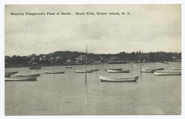 Maurice Fitzgerald's Fleet of Boats Great Kills, Staten Island, N.Y. [fishing boats off shore.]